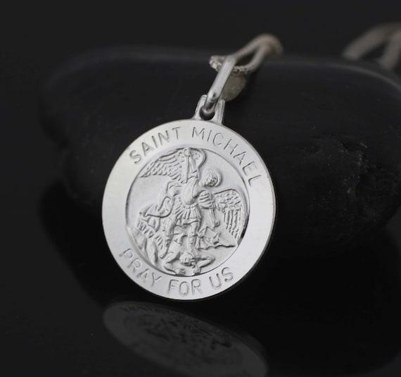 Sterling Silver Saint Michael Archangel Medal St Michael Necklace