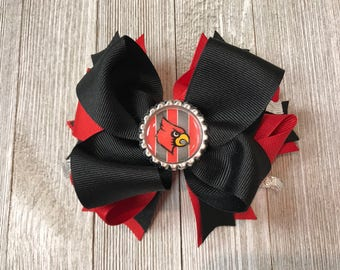 Cardinal Hair Bow (red & black boutque bow)