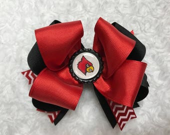 Cardinal Hair Bow (red & black boutique bow)