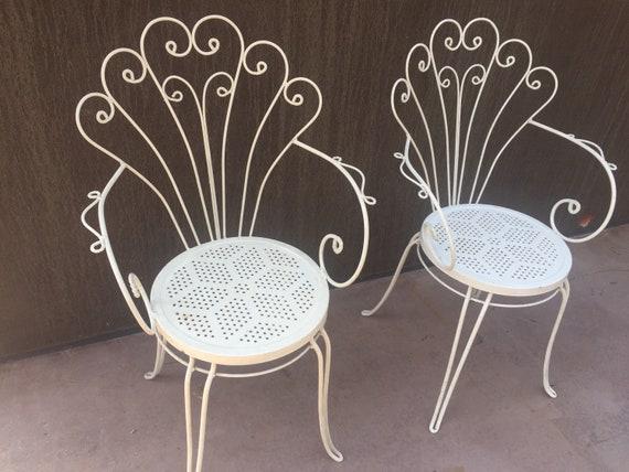 Sedie Da Giardino In Ferro : Coppia sedie da giardino in ferro stile liberty originali etsy