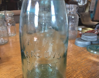 Antique aqua Atlas Mason's 1/2 gallon glass canning jar patent Nov. 30th 1858