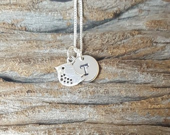 Sterling Silver Bird Initial Necklace, Personalized Necklace, Initial Necklace, Customized Necklace