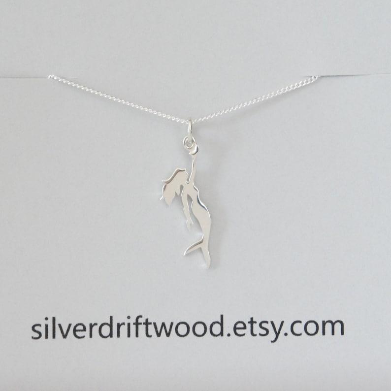Ocean Themed Charm Beach Charm Sterling Silver Mermaid Necklace Nautical Charm