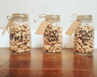 Treat jars with doggy sayings and delicious peanut butter biscuits.