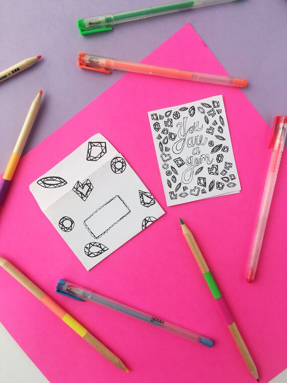 Mini Printable Coloring Card You Are A Gem Thank Etsy