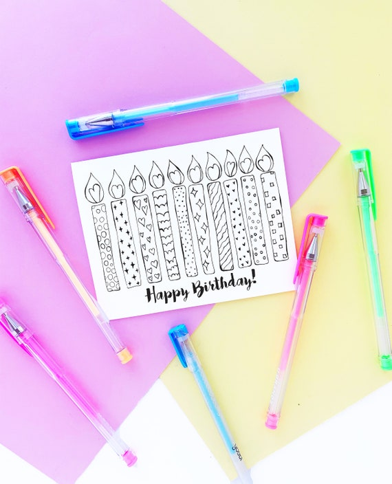 Printable Happy Birthday Coloring Greeting Card Birthday