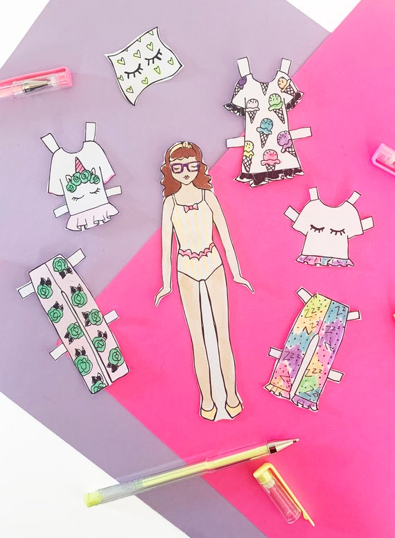Cut Out Paper Dolls Hand Illustrated Paper Dolls Kids Craft Paper Doll Printable Coloring Sheets Paper Doll Instant Download PDF
