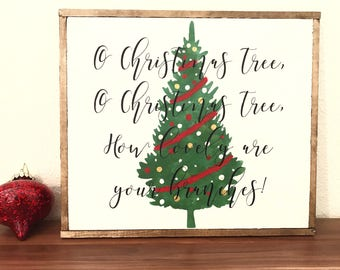 O Christmas tree wood sign, Christmas sign, holiday decor, farmhouse Christmas, rustic wood sign,