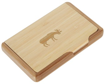 Moose card holder etsy moose bamboo business card holder with laser engraved design business card keeper holds up to 10 cards colourmoves