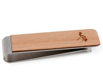 Cherry Wood Tie Bar Engraved in The USA Wooden Accessories Company Wooden Tie Clips with Laser Engraved Magician Design