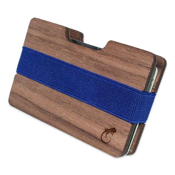 Iguane Slim en bois le portefeuille. Fait à la main et gravées au Laser. Made in USA.