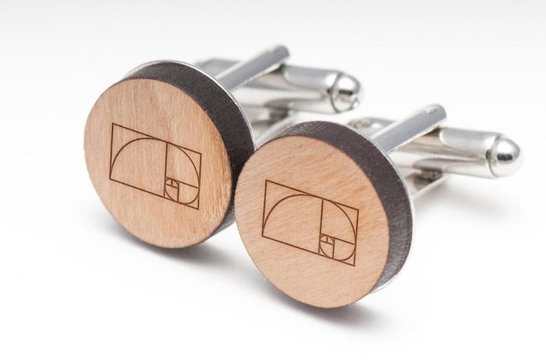 Wedding Gifts Groomsman Gifts Fibonacci Wood Cufflinks Gift For Him and Personalized