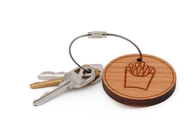 Custom Keychain Groomsman Gifts French Fries Keychain Gift For Him or Her and Personalized Wedding Gifts Wood Keychain