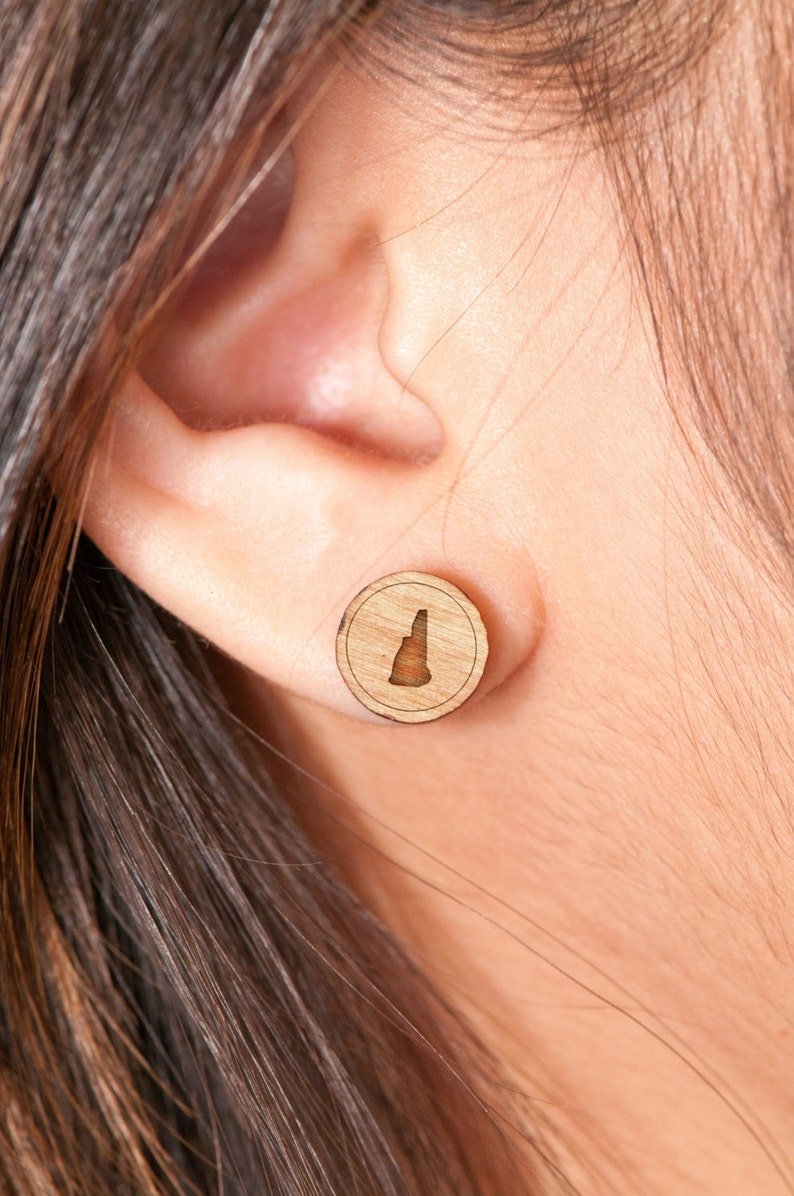 Gift For Him or Her Wooden Earring New Hampshire Stud Earring Groomsman Gifts Bridesmaid Gifts Wedding Gifts and Personalized