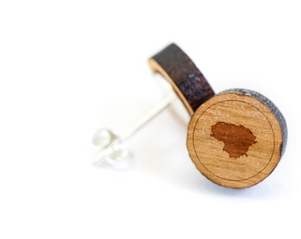 Lithuania Stud Earring, Wooden Earring, Gift For Him or Her, Wedding Gifts, Groomsman Gifts, Bridesmaid Gifts, and Personalized