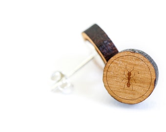 Ants Stud Earring, Wooden Earring, Gift For Him or Her, Wedding Gifts, Groomsman Gifts, Bridesmaid Gifts, and Personalized