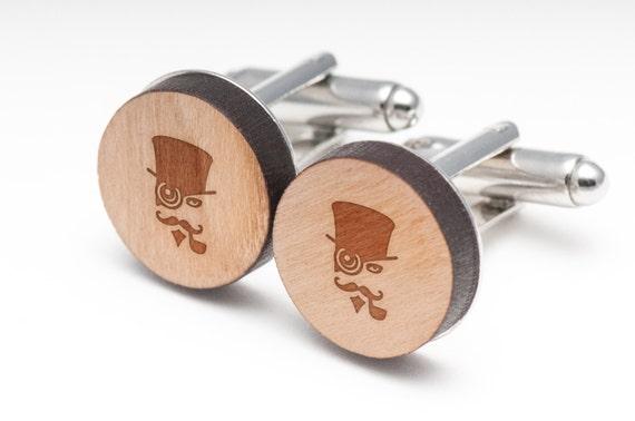 Steampunk Wedding Gifts: Steampunk Wood Cufflinks Gift For Him Wedding Gifts