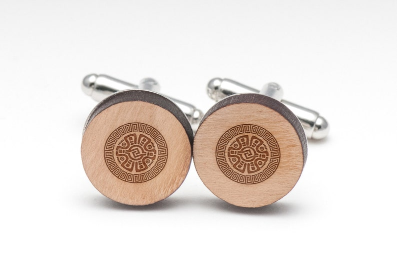 Wedding Gifts and Personalized Mayan Wood Cufflinks Gift For Him Groomsman Gifts