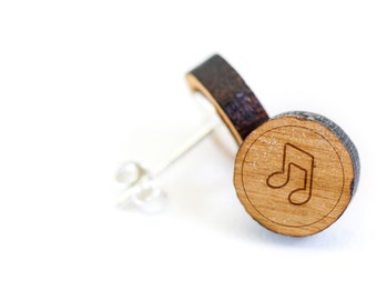 Eigthnote Stud Earring, Wooden Earring, Gift For Him or Her, Wedding Gifts, Groomsman Gifts, Bridesmaid Gifts, and Personalized