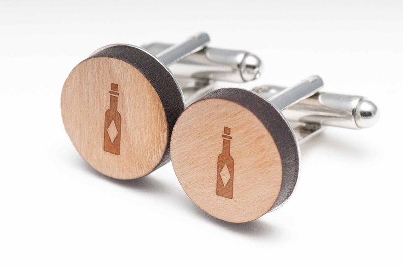 Hotsauce Wood Cufflinks Gift For Him Groomsman Gifts and Personalized Wedding Gifts