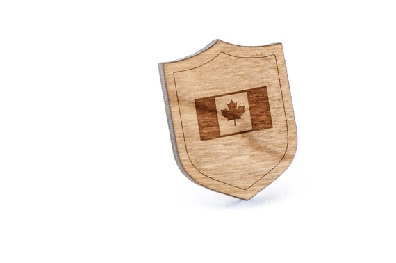 Canadian Flag Trailer Lapel Pin Wooden Pin Wooden Lapel Etsy