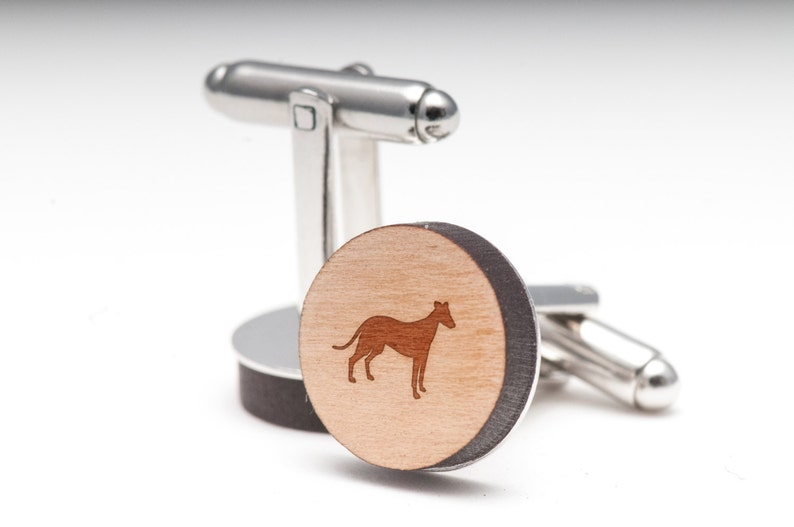 Wedding Gifts Groomsman Gifts and Personalized Whippet Wood Cufflinks Gift For Him