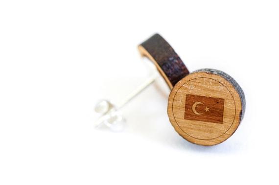 Turkische Flagge Und Ohrstecker Holz Ohrring Ohrring Etsy