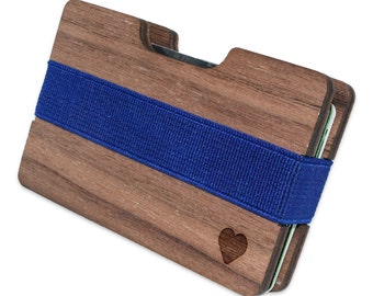 Heart Slim Minimalist Wooden Wallet. Handmade And Laser Engraved. Made in the USA.