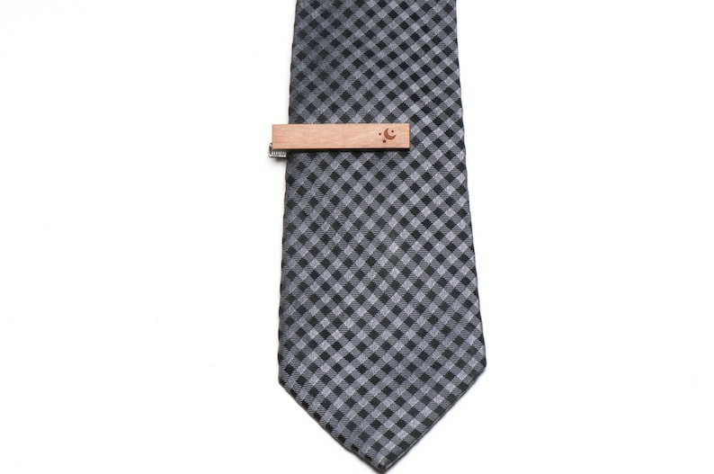 Groomsman Gifts Wedding Gifts and Personalized Gift For Him Moon And Star Tie Clip Wood