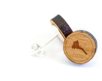Eritrea Stud Earring, Wooden Earring, Gift For Him or Her, Wedding Gifts, Groomsman Gifts, Bridesmaid Gifts, and Personalized
