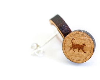 Cat Stud Earring, Wooden Earring, Gift For Him or Her, Wedding Gifts, Groomsman Gifts, Bridesmaid Gifts, and Personalized