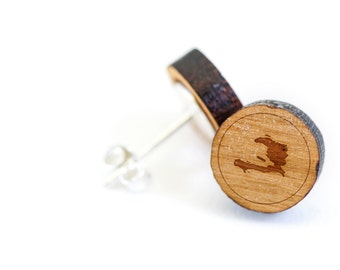 Haiti Stud Earring, Wooden Earring, Gift For Him or Her, Wedding Gifts, Groomsman Gifts, Bridesmaid Gifts, and Personalized
