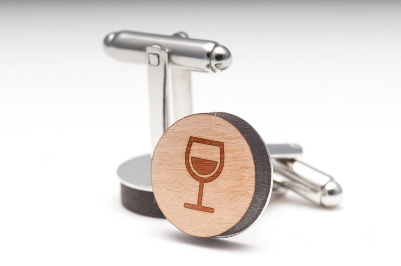 and Personalized Wine Glass Wood Cufflinks Gift For Him Wedding Gifts Groomsman Gifts