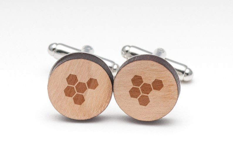 Wedding Gifts Groomsman Gifts Honeycomb Wood Cufflinks Gift For Him and Personalized