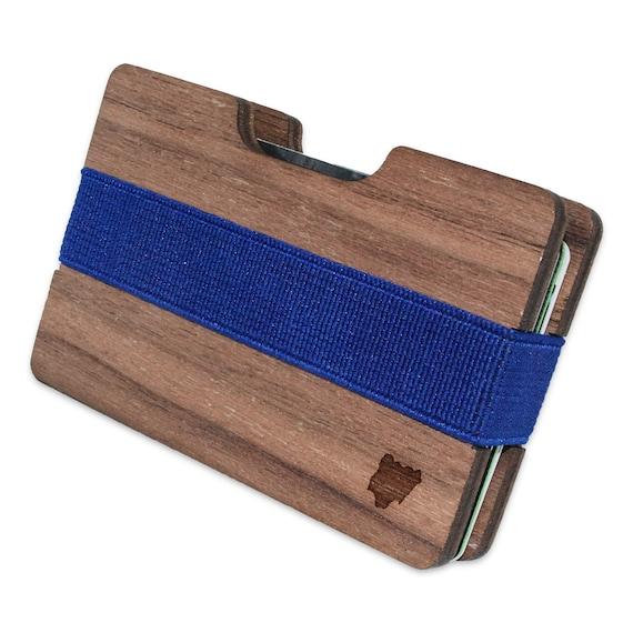 Nigeria Slim en bois le portefeuille. Fait à la main et gravées au Laser. Made in USA.