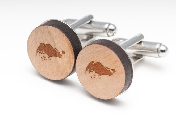 Singapore Wood Cufflinks Gift For Him Wedding Gifts Etsy