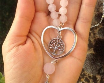 Long Necklace (long) * Earth with love *, rose quartz, tree of life, heart, feather, boho chic