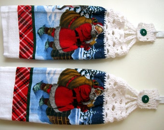 Crochet Top Hanging Dish/Kitchen Towels Christmas Santa Claus Presents Gift Holiday New Cotton Double Sided