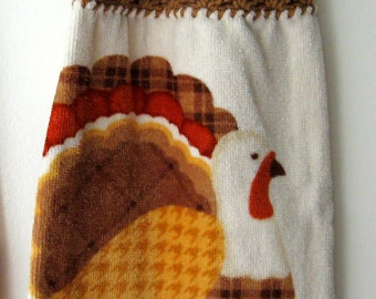Christmas Crochet Top Hanging Dish/Kitchen Towels Thanksgiving Turkey Houndstooth Design Single Sided Button Loop Topper