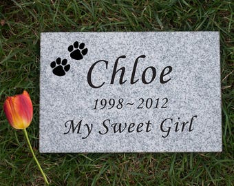 Granite 9x6x1 Custom Engraved Pet Memorial Stone, dog memorial stone, grave marker, pet headstone, dog memorial, loss of a pet, dog, cat