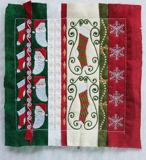 Stockings and Santa Snowflakes Anita Goodesign stitchout- Holiday Stripes- striped Christmas Quilt block