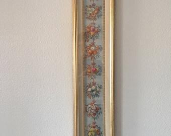 Unique Framed Hand Colored Floral Engraving
