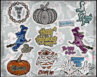 SVG DXF cut file Spooky Halloween VOL6 - Pumpkin, Voodoo doll, mummy, witch, mage, bats