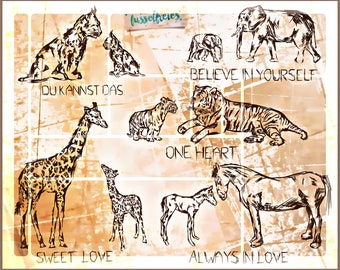 SVG DXF cut file Animal Sketches - Tiger, Elephant, Giraffe, Horse & Lynx by Fusselfreies