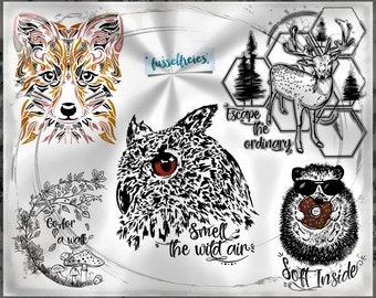 SVG DXF cut file In The Woods - Autumn, Fall, Fox, Hedgehog, Deer, Owl, Mushrooms, Leaves by Fusselfreies