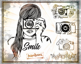 SVG DXF cut file Photo Love - Camera by Fusselfreies