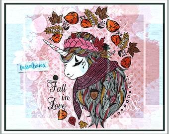 SVG DXF cut file Boho Unicorn Autumn / Fall by Fusselfreies