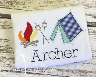 Personalized Camping Tent Smores Applique Shirt