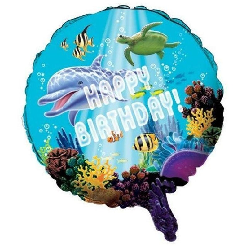 Ocean Party Happy Birthday Mylar Balloon