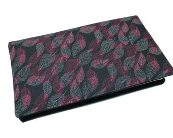 fabric checkbook cover feathers fall leaves - mothers birthday, protects checkbook, checkbook covers fabric